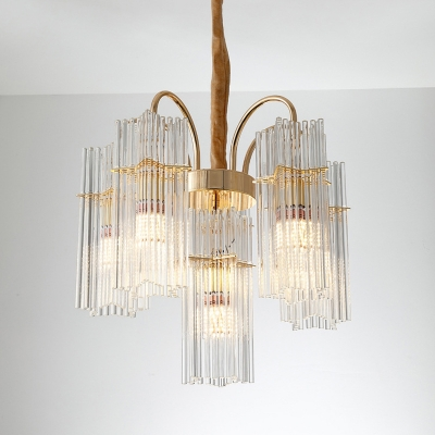 Crystal Tiered Cylinder Ceiling Chandelier Modern 6 Heads Gold Pendant Lighting Fixture with Adjustable Chain
