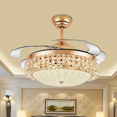 Dome Ceiling Fan Lighting Modernism Frosted Glass LED Gold Semi Flush Mount, Wall/Remote Control/Frequency Conversion, HL576753