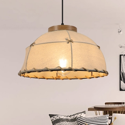 Fabric Domed Suspension Lamp Rustic Loft 1 Light Flaxen Ceiling Pendant Light with Adjustable Cord, / W, HL566083