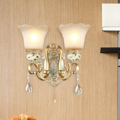 Flower Hallway Wall Mount Light Traditional Opal Glass 1/2 Lights Gold Sconce Light Fixture