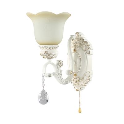 Flower Living Room Wall Light Vintage Beige Glass 1/2 Lights Ivory Wall Mounted Light