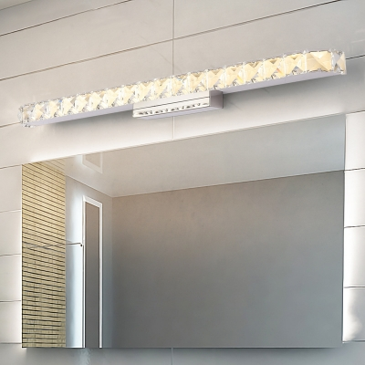 Modernist Style Slim Vanity Light Clear Crystal Integrated LED Bathroom Wall Light Sconce, 13