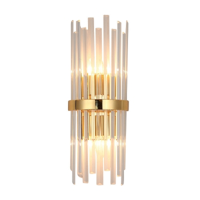 Nordic Cylinder Sconce Light Fixture Rectangle-Cut Crystal 2 Heads Bedroom Wall Mounted Light in Gold