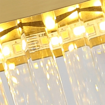 Oval Chandelier Light Fixture Postmodern Crystal Block Gold LED Hanging Ceiling Light