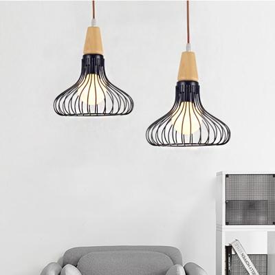 Pear/Diamond/Gourd Cage Pendant Lamp Fixture Metallic Vintage 1 Head Ceiling Hanging Light in Black, HL565774