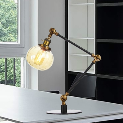 Pumpkin Shade Bedroom Table Lighting Amber/Clear Glass 1 Light Vintage Stylish Table Lamp in Black/Bronze Finish