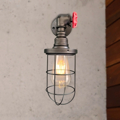 Rustic Style Caged Wall Light Iron 1 Bulb Corridor Wall Sconce Lighting with Red Valve Design in Aged Brass/Black, Black;aged brass, HL566050