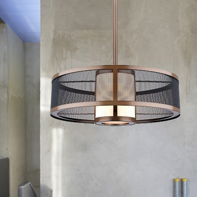1 Bulb Ceiling Pendant Antique 2-Tier Metallic Suspended Lighting Fixture in Gold with Cylinder Fabric Shade