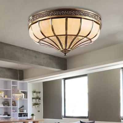 3/4-Bulb Opaline Glass Ceiling Flush Colonialism Brass Bowl Bedroom Flush Mount Lighting, 12.5