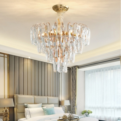 7 Light Bedroom Chandelier Lamp Modern Pendant Light Kit With Tiered Clear Smoke Gray Crystal Shade Beautifulhalo Com