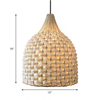 Beige Basket Hanging Lamp Modern Country Style 1 Light Weave Rattan Pendant Light