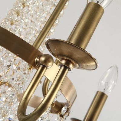 Copper Scroll Frame Chandelier Traditional 4 Lights Golden Hanging Ceiling Light with Crystal Tassel