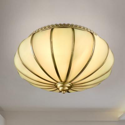 Lantern Flush Mount Vintage Milky Glass 14