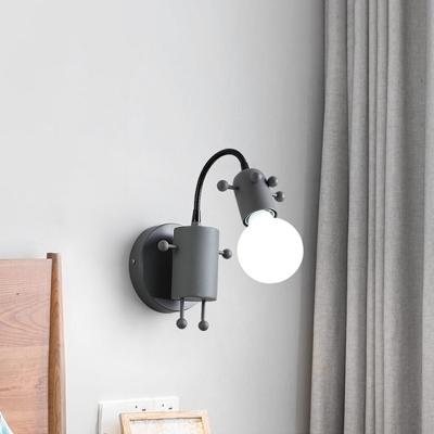 Open Bulb Adjustable Wall Lamp Modernist Metal 1 Head Wall Mount Lighting in Grey/White/Green