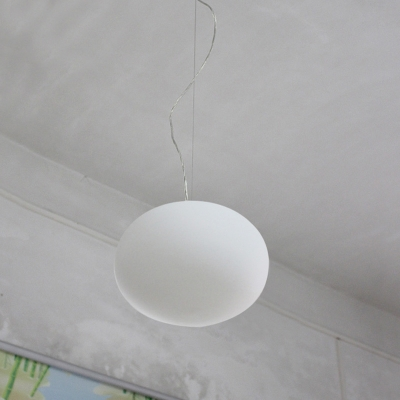 Oval Dining Room Pendant Light White Glass 1 Head Simple Style Hanging Lamp Kit, 9.5