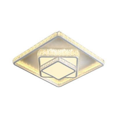 Rectangle/Square Crystal Block Ceiling Lamp Simple White LED Flush Mount Light in White/3 Color/Remote Control Stepless Dimming Light, 19.5