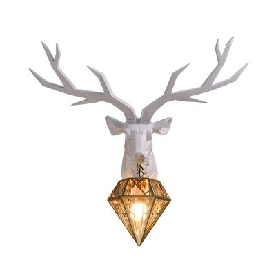 Vintage Deer Wall Light Resin 1 Light Living Room Wall Mount Light with Brass Diamond Metal Shade, 14.5