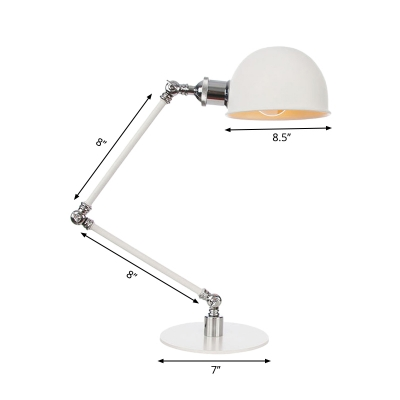 White Bowl Shade Table Lamp Industrial Stylish 4