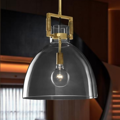1 Head Dining Room Pendant Lighting Postmodern Brass Hanging Light Kit with Dome/Globe/Cone Clear Glass Shade, 12
