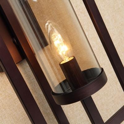 1 Light Amber Glass Wall Lighting Vintage Black Tube Dining Room Sconce Light Fixture with Metal Frame