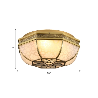 4-Light Opal Glass Flush Light Colonialist Brass Curved Bedroom Close to Ceiling Lighting