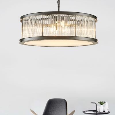 6 Heads Living Room Chandelier Lighting Modern Black/Brass Hanging Lamp with Drum Crystal Rod Shade