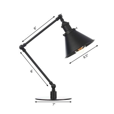 Black/Brass Finish Tapered Table Lighting Industrial Stylish 1 Light Metallic Table Lamp for Bedroom