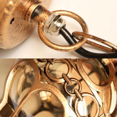 Black/Brass Orb Pendant Lighting Vintage Amber Glass 1 Light Restaurant Hanging Lamp with Cage