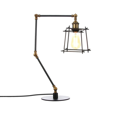 Black/Brass Tapered Cage Table Lamp Industrial Style 1 Bulb Metallic Table Lighting with Adjustable Arm