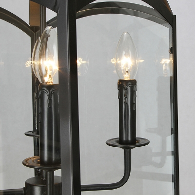 Black Caged Chandelier Light Traditional Style Metal 4 Lights Dining Room Pendant Lamp with Glass Panes
