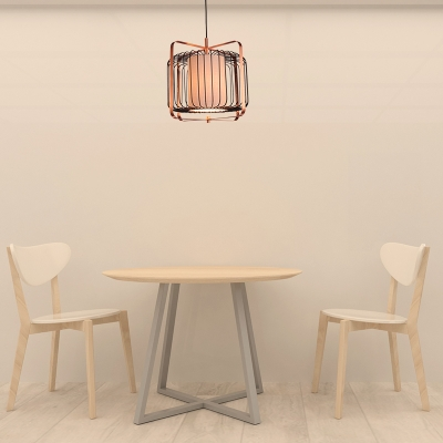 Black Cylinder/Barrel/Drum Cage Suspension Lamp Traditional Style Metal 1 Head Living Room Ceiling Lamp
