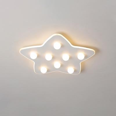 Blue/Pink/White Star Flush Ceiling Light Modern Metal 8 Bulbs Flush Lighting for Children Room