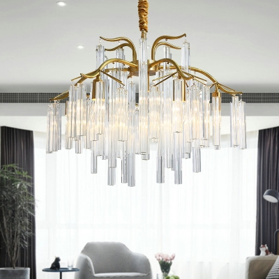 Curved Arm Chandelier Lamp Postmodern Three Side Crystal Rod 7 Lights Gold Hanging Lighting Fixture