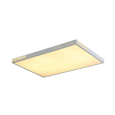 Minimalist K9 Crystal LED Ceiling Light White Rectangle/Round Flush Mounted Light with Acrylic Shade, 16