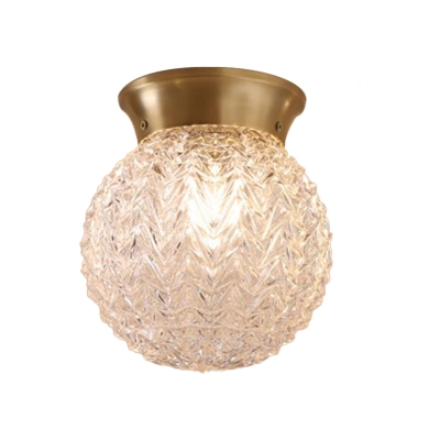 Ripple Glass Brass Ceiling Light Orb Single Head Colonialist Flush Mount Lighting for Living Room