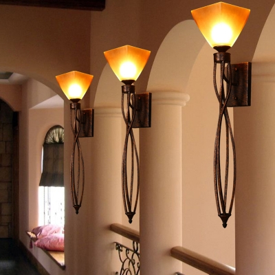 Rust 1 Light Sconce Light Farmhouse Metal Twist Wall Lighting Fixture for Corridor with Trapezoid Glass Shade
