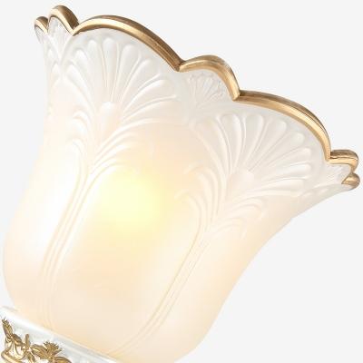 White Flower Wall Mount Light Vintage Opal Glass 1/2 Lights Living Room Sconce Light