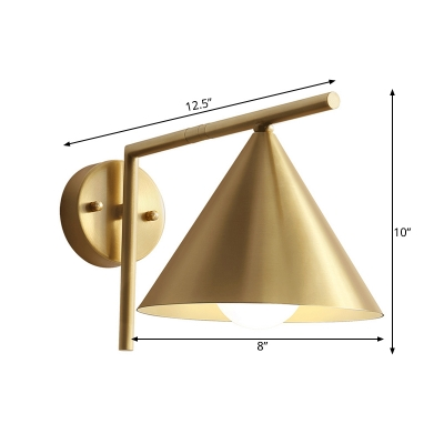 1 Bulb Iron Sconce Light Modernist Golden Cone Shape Wall Mounted Lamp with Right Angle Arm