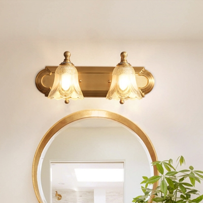 2 Lights Bathroom Vanity Sconce Light Vintage Style Golden Wall Lighting with Petal Clear Glass Shade, 18
