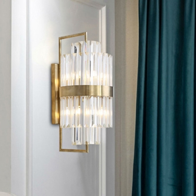 2 Lights Hallway Wall Light Contemporary Gold Sconce Light with Cylinder Tri-Sided Clear Crystal Shade