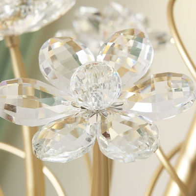 3/6/8-Light Ruffle Glass Chandelier Antique Golden Scalloped Pendant Light Fixture with Crystal Accent