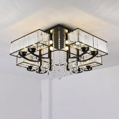 Black Rectangle Flush Light Fixture Modern Tri-Sided Crystal Rod 4/8 Heads Ceiling Lamp