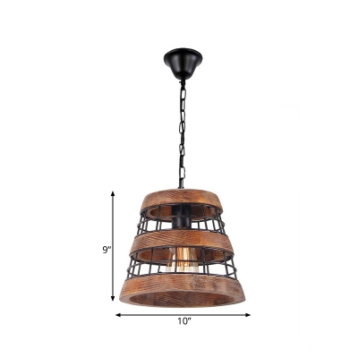 Brown 1 Light Pendant Lighting Classic Wood Tapered Hanging Lamp for Dining Room with Iron Frame