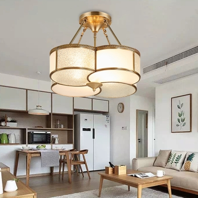 Colonial Clover Ceiling Mount Chandelier 4 Bulbs Seeded Glass Semi Flush Light Fixture in Brass for Dining Room