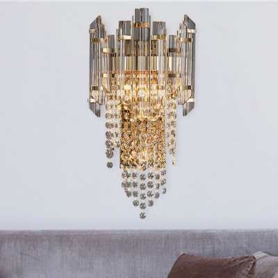 Contemporary Cascade Sconce Light Crystal 2 Lights Living Room Wall Light Fixture in Smoke Grey Finish