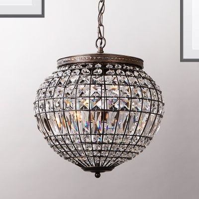 Contemporary Disco Ball Pendulum Light Crystal Shade 2-Light Bedroom Ceiling Pendant in Black