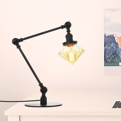 Diamond Shade Bedroom Table Lamp Amber/Clear Glass 1 Head Industrial Style Adjustable Table Light in Black/Brass Finish, Clear;amber, HL571960