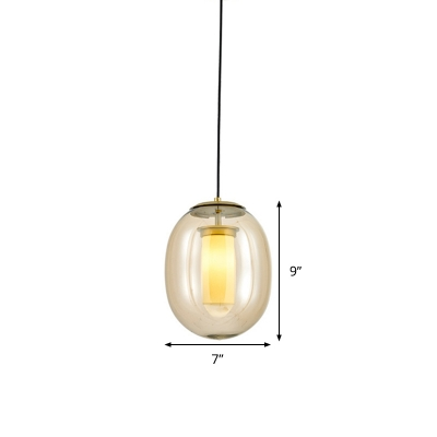 Oval Pendant Lamp Modernism Amber Glass 1 Head Gold Hanging Light Fixture, 7