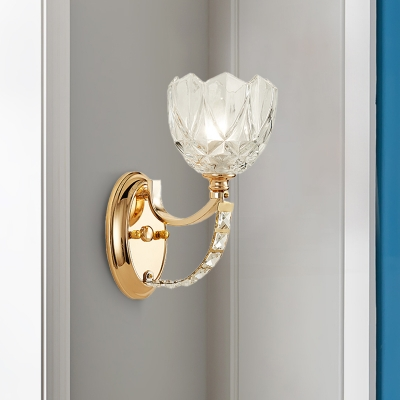 Postmodern 1 Head Wall Light Fixture Brass Cylinder/Bowl Sconce Light with Clear Glass Shade