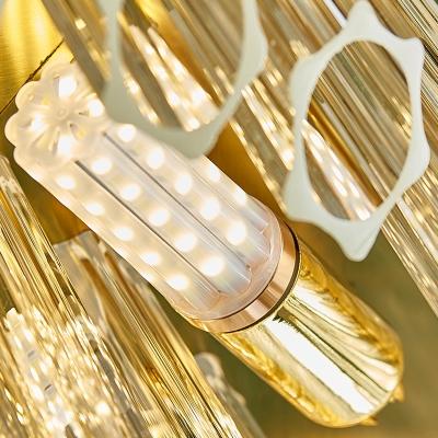 Prismatic Crystal Tubular Chandelier Lamp Modern 12-Light Grey Ceiling Pendant Light
